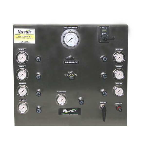 Nuvair 7-bank air/nitrox/oxygen fill panel with booster controls