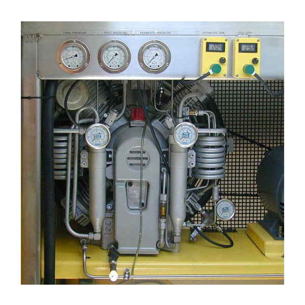 Compressor with stainless steel frame and gauges