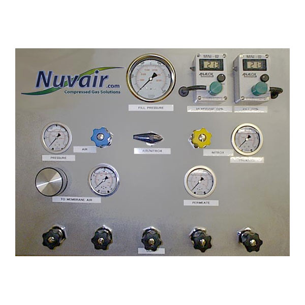 Air/nitrox fill panel with gas analyzers and high-pressure air supply regulator for membrane