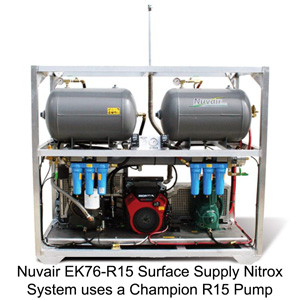Nuvair EK76-R15 surface supply nitrox system with Champion R15 pump