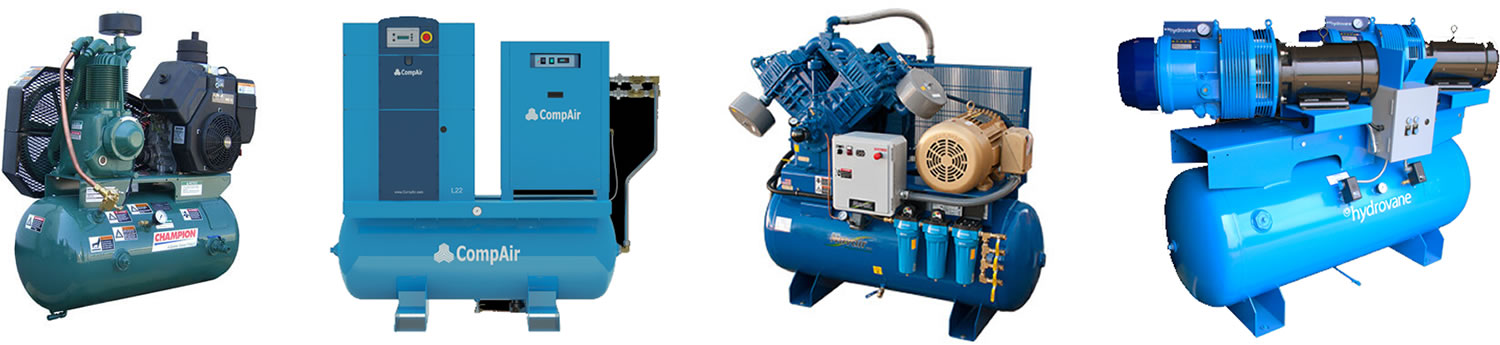 Champion, CompAir, Quincy, and Hydrovane compressors.
